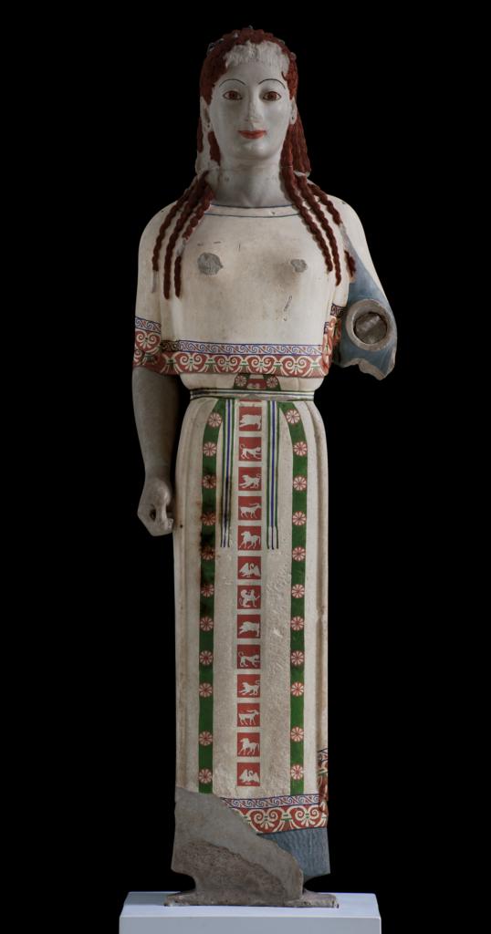 Η «Πεπλοφόρος». Ψηφιακή εφαρμογή των αρχικών χρωμάτων πάνω στην τρισδιάστατη εικόνα του αυθεντικού έργου © Μουσείο Ακρόπολης