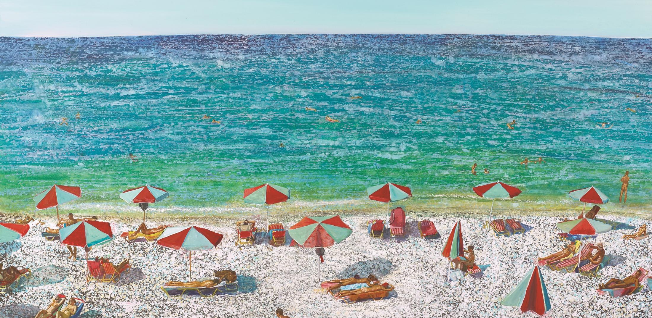 Η θάλασσα στην τέχνη_Παραλία με Ομπρέλες_Μαρία Φιλοπούλου